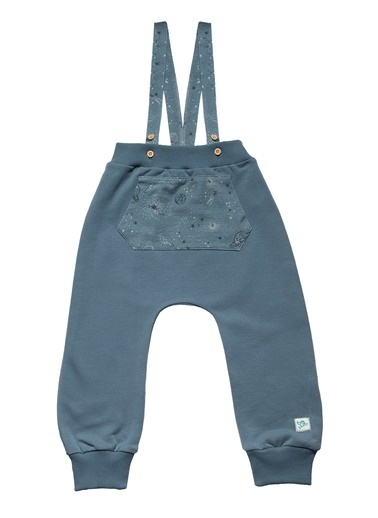 Nila Kids Gri-Mavi Rengi Erkek Bebek Askılı Organik Pantolon NK04002GM (6 AY- 3 YAş) Mavi